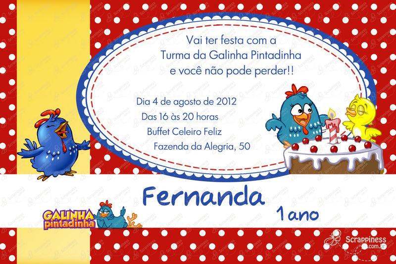 1 Ano Convite Galinha Pintadinha