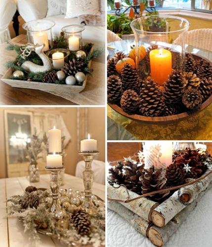 pinha-na-decoração-de-natal-mesa